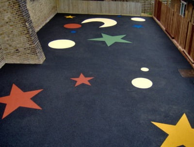 Wetpour safety surfacing, playground surface in the  Bishop Harvey school play area.