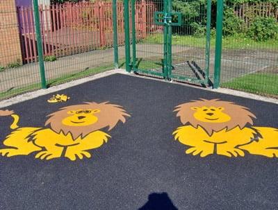 Wetpour Lion Graphics at Glasgow School