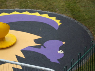 Wetpour safety surfacing, playground surface at Fairfield Park, Stotfold, Bedfordshire.