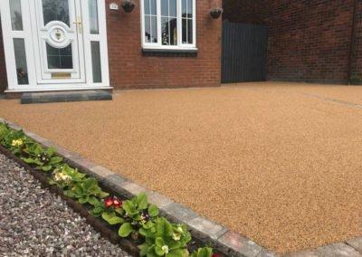 Light brown resin Bound Gravel Driveway Accrington