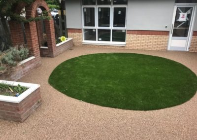 School in Scotland Aggre-Scape garden feature with lawn