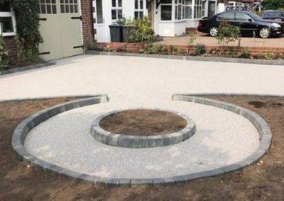 Circular resin bound surfacing in garden